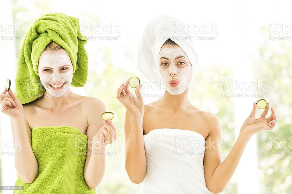 Women with facial masks stock photo