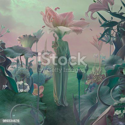 women with flower head in surreal garden