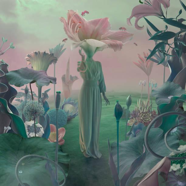 women with flower head in surreal garden - surrealistyczny zdjęcia i obrazy z banku zdjęć