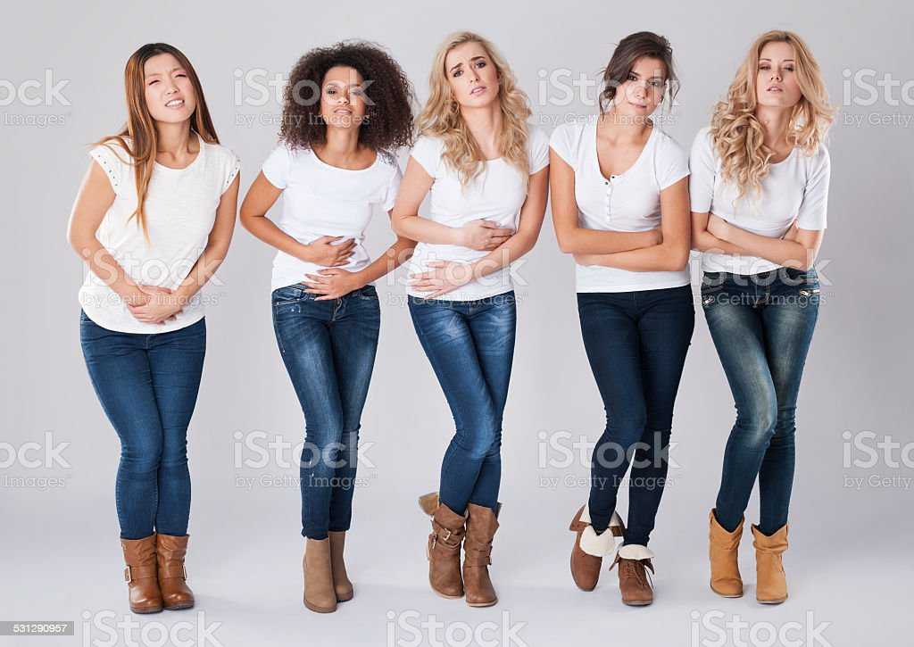 Women with huge monthly abdominal pain stock photo
