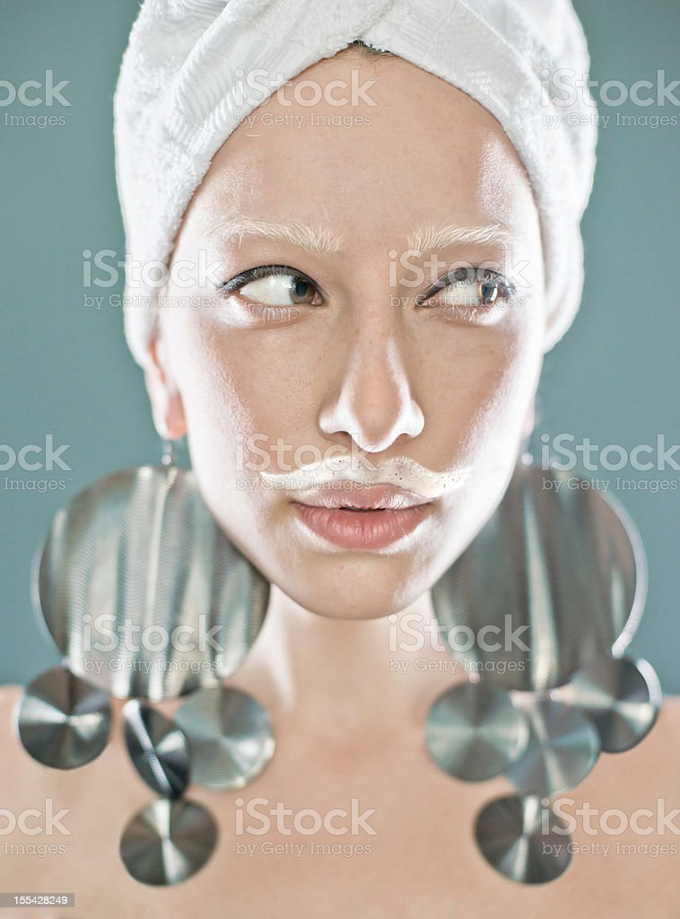 women with milk moustaches stock photo