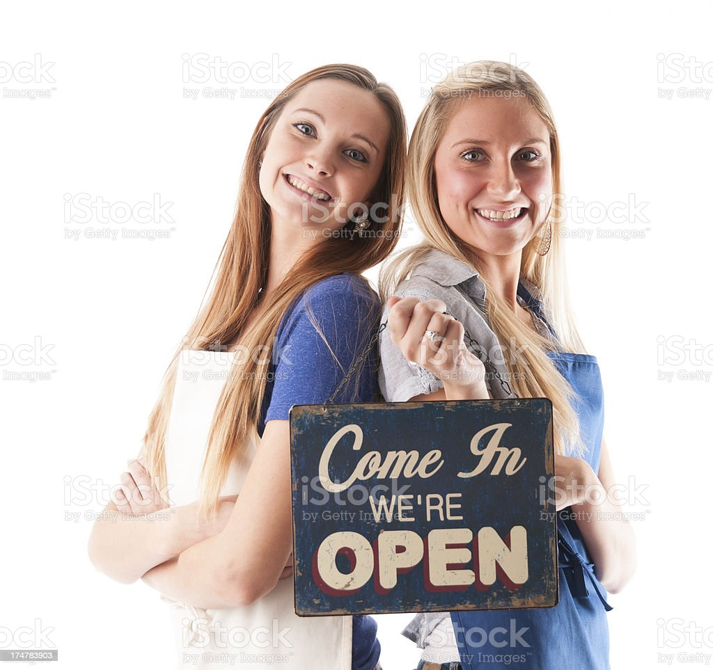 Women with Open Sign royalty-free stock photo