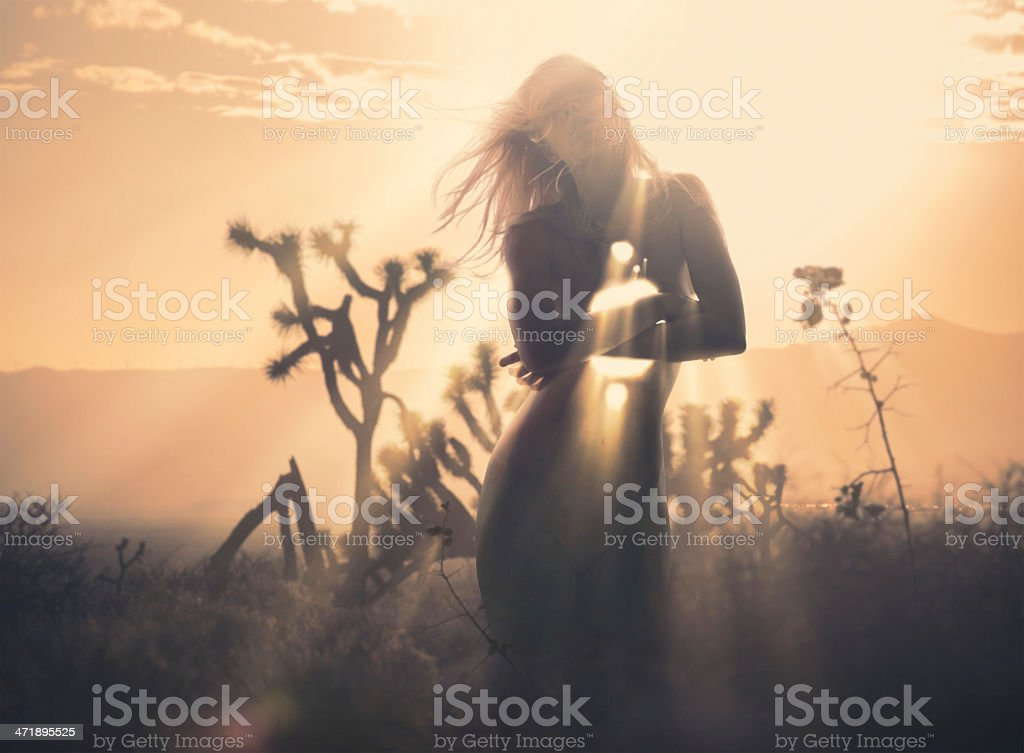 women with rays inside stock photo