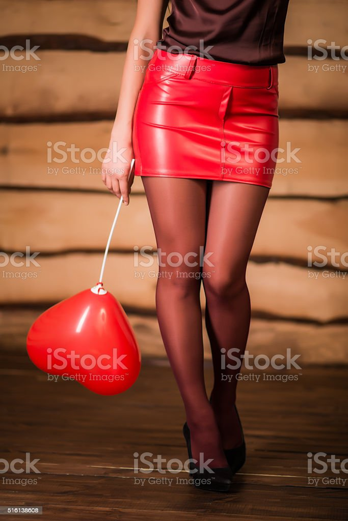 Women with red heart stock photo