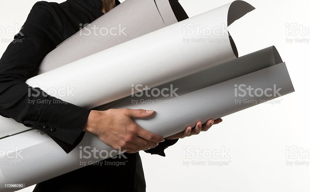 women with rolls paper royalty-free stock photo