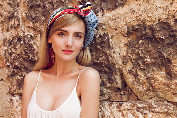 Women with scarf in her hair stock photo
