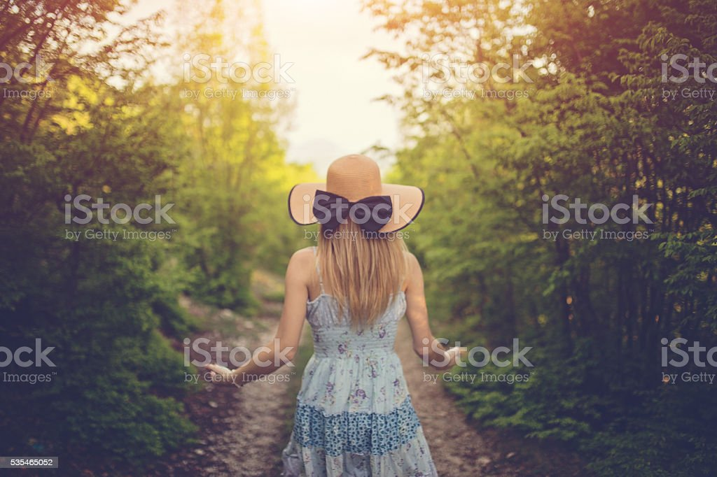 Women with the hat and a bow stock photo