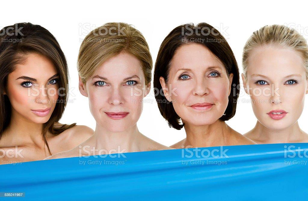 Women with various skin types stock photo