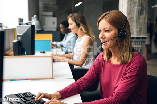 istock Women Working In Call Center. 518176076