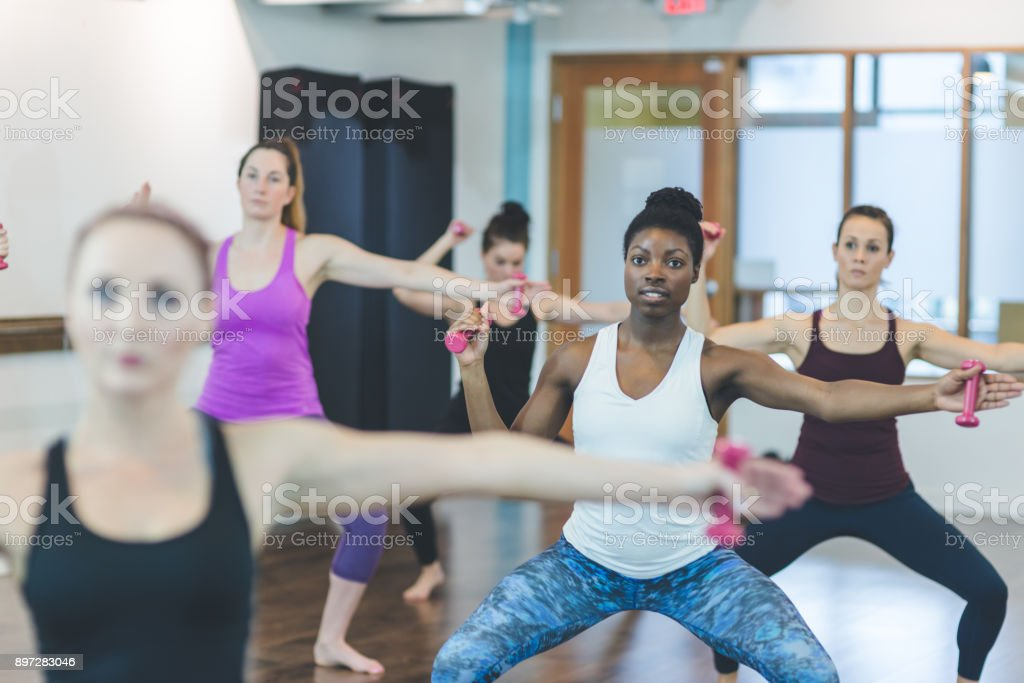 Women Working Out at Modern Gym stock photo