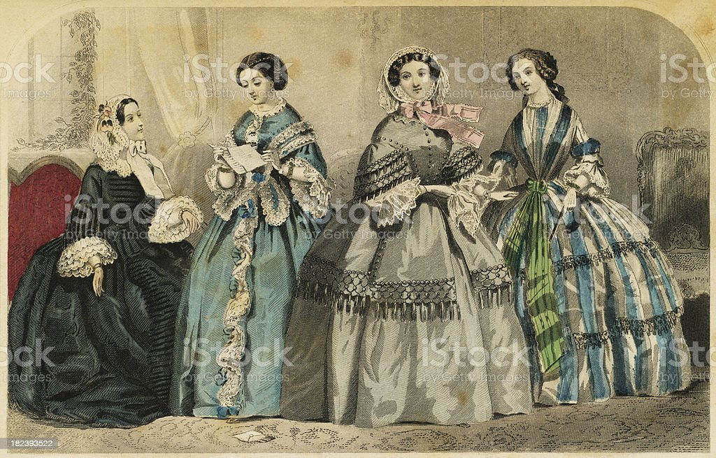 Women's 19th Century Fashion royalty-free stock photo