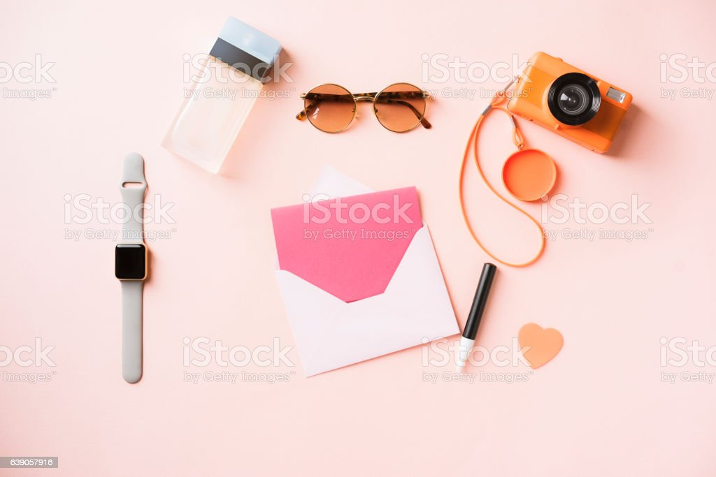 Womens accessories on tabletop flat lay, empty greeting card stock photo