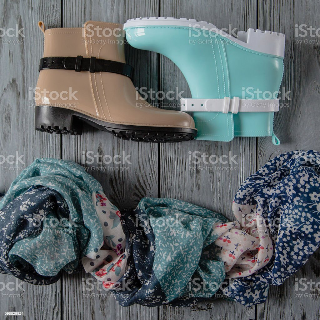 women's accessories on wooden background stock photo