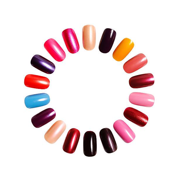 Women's acrylic nails forming a circle stock photo