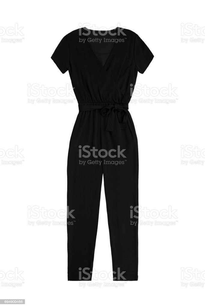 women's black jumpsuit overall, isolated on white background stock photo