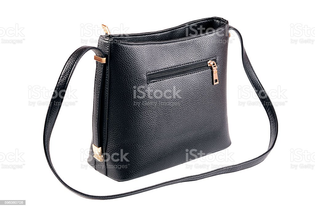 Women's black leather bag royalty-free stock photo