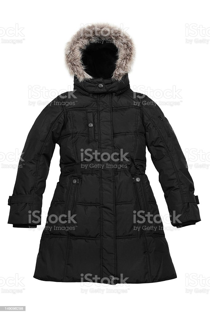 Women's black quilted coat with fur trimmed hood stock photo