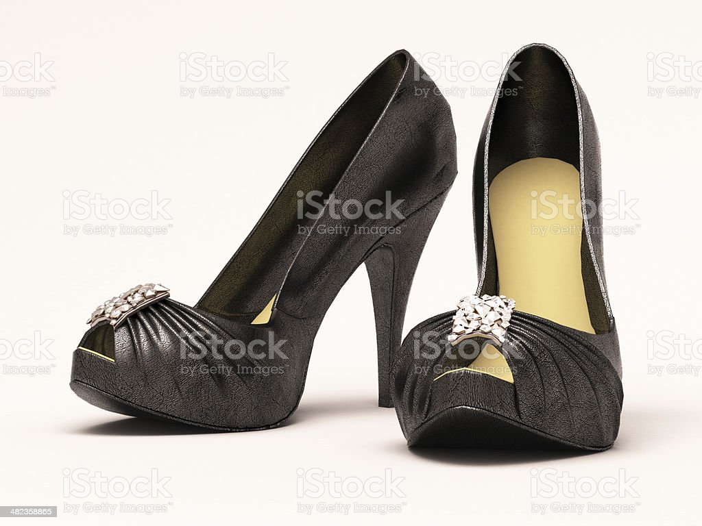 Women's black sexy  shoes royalty-free stock photo