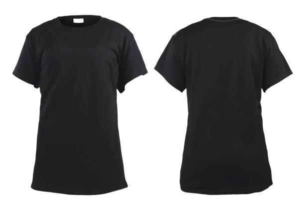 em branco t-shirt preta feminino, frente e traseira do modelo - camiseta preta - fotografias e filmes do acervo