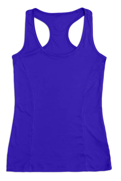 women's blue racerback sports top, isolated on white backgorund stock photo