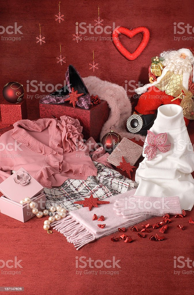 women's clothes and accessories for christmas royalty-free stock photo