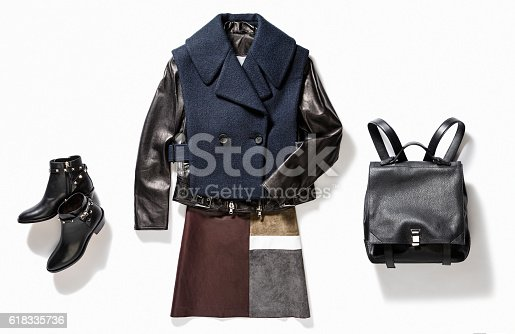 leather jacket, black handbag and shoes isolated on white background (with clipping path)