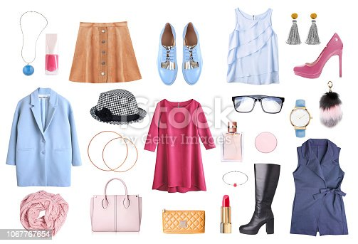 Womens clothes set isolated.Female clothing and accessories collage.