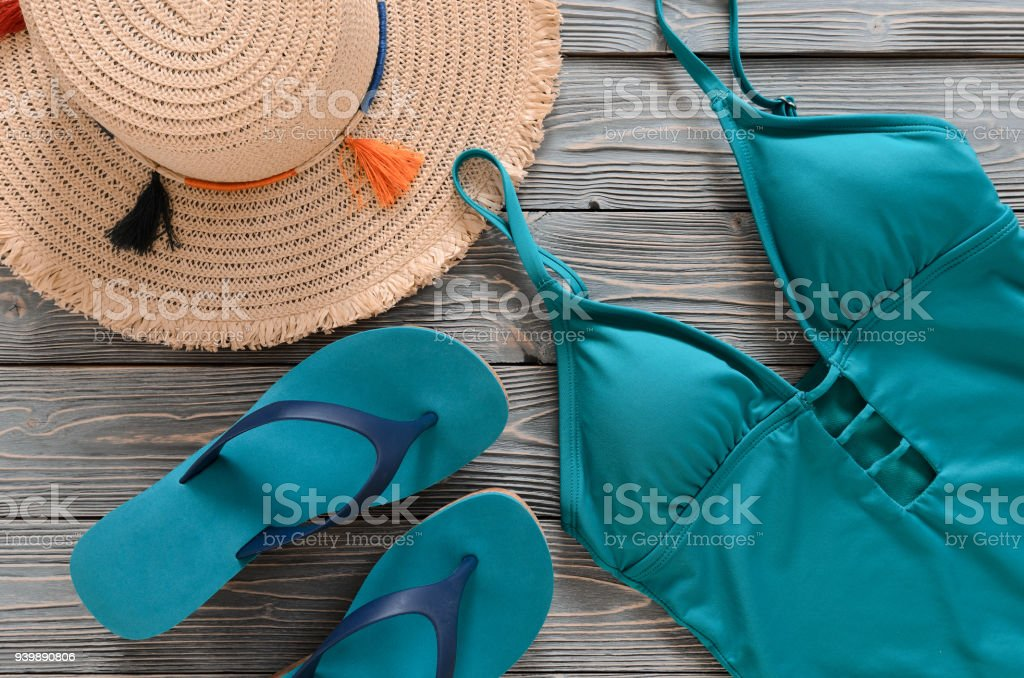 d4ab3ff708 Womens clothing, accessories, shoes (straw hat, blue green swimsuit, flip  flops
