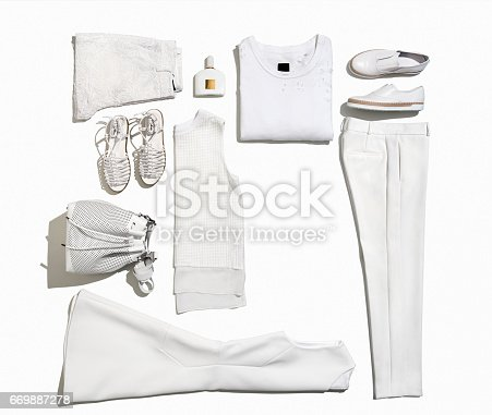 Women's clothing and personal accessories isolated on white background ( with clipping path)