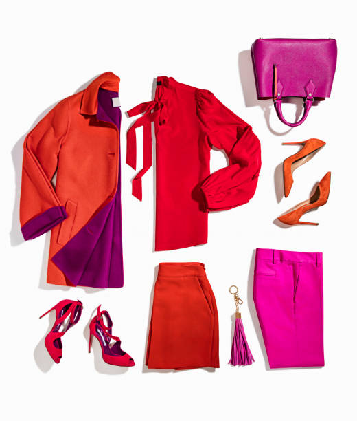 Women's clothing and personal accessories Women's clothing and personal accessories isolated on white background ( with clipping path) blouse stock pictures, royalty-free photos & images