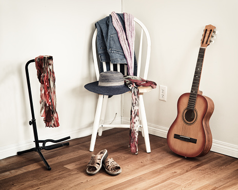 istock Women's Clothing On Chair 1127830829