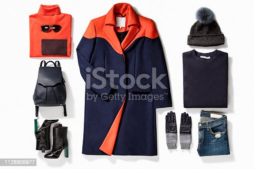 Women's clothing with personal accessories isolated on white background (with clipping path)
