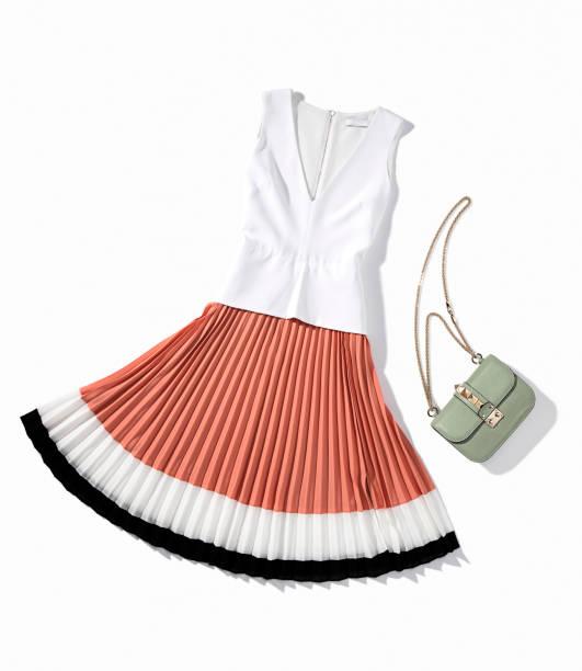 women's clothing with shoulder bag isolated on white background - spódnica zdjęcia i obrazy z banku zdjęć
