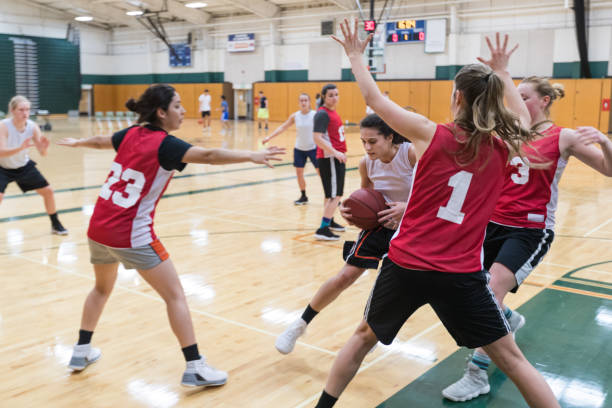 Women's college basketball practice stock photo