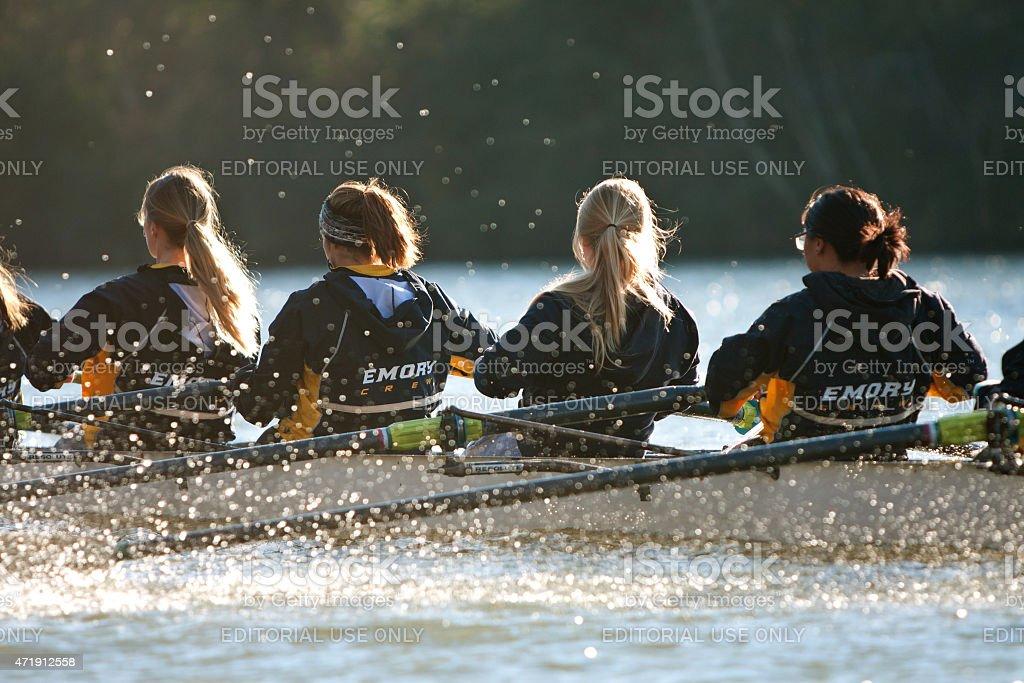 Women's College Crew Team Rows Down Atlanta's Chattahoochee River stock photo
