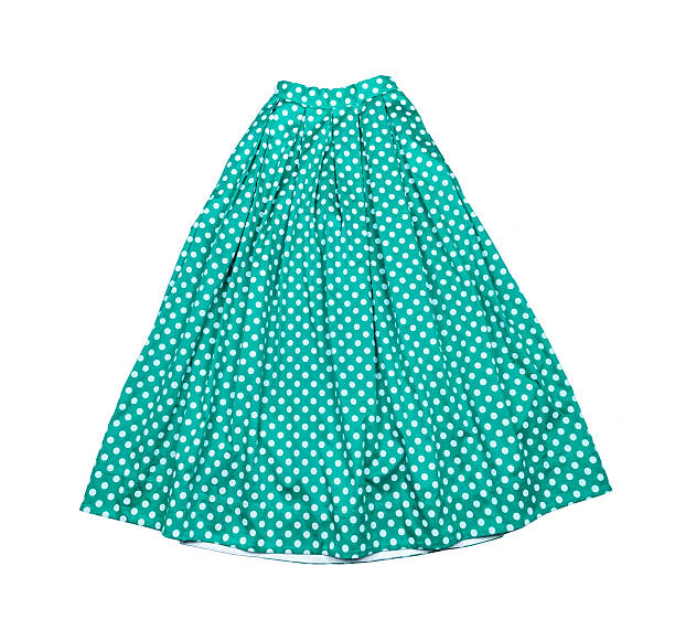 Women's cotton long blue skirt stock photo