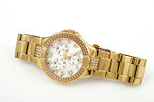istock Women's crystal accented gold watch 182879100