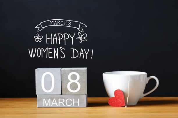 women's day message with coffee cup - womens day stock photos and pictures
