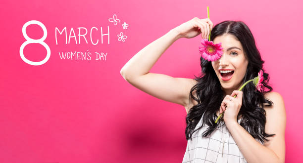 婦女日消息與年輕婦女與加貝拉 - womens day 個照片及圖片檔