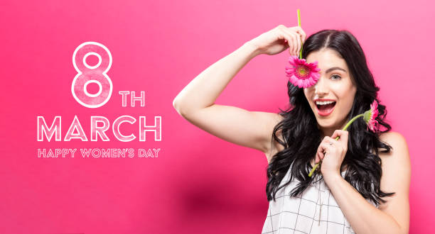 Womens Day message with young woman with garbela stock photo