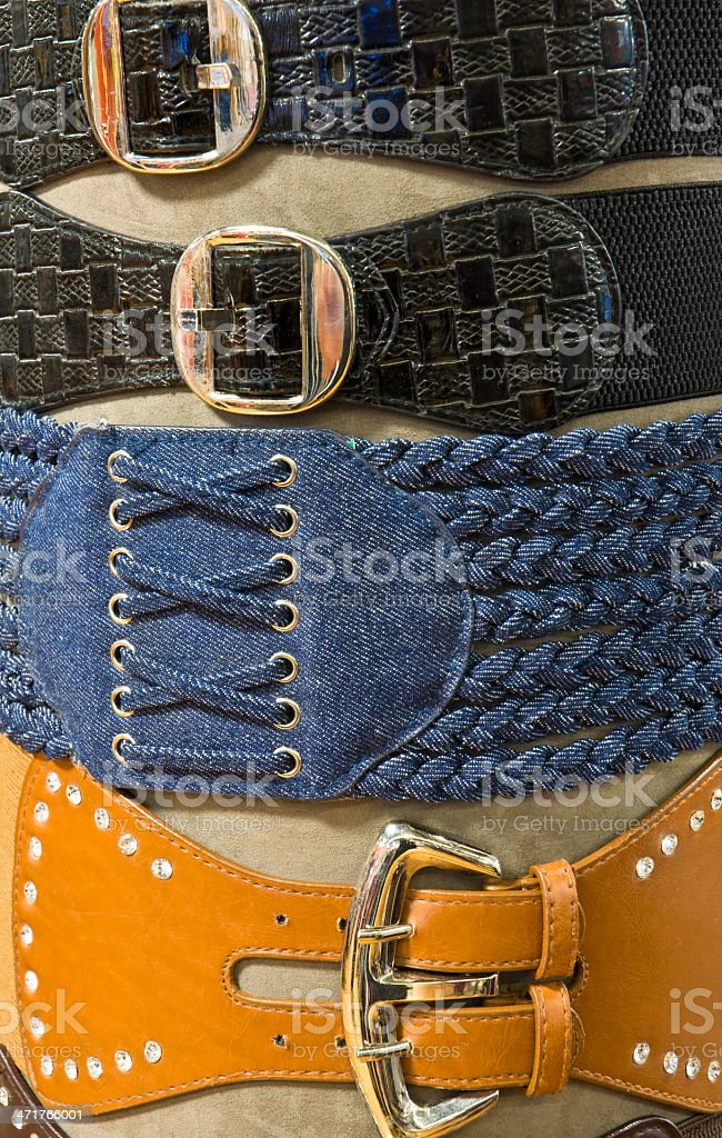 Womens Designer Belts In Retail Store Display royalty-free stock photo