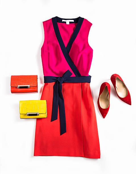 women's dress and personal accessories - neontasche stock-fotos und bilder