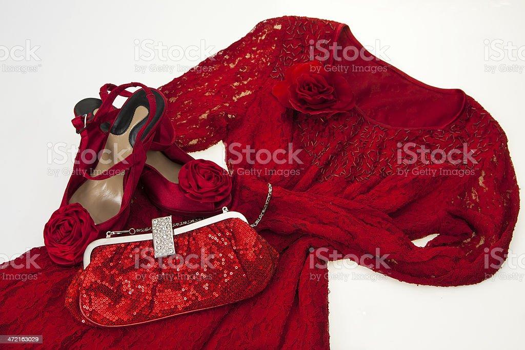 Women's dress in red stock photo