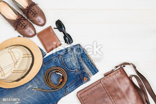 istock women's fashion on white wooden background 851474874