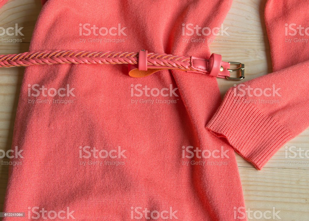Women's fashion pink sweater with a belt on light stock photo