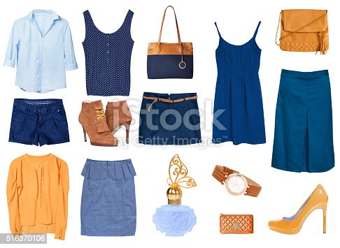 istock Women's female clothes isolated collage set. 516370106