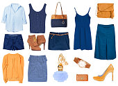 Women's female clothes isolated collage set.