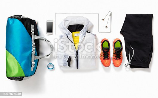 istock Women's fitness outfit  isolated on white background 1097874048