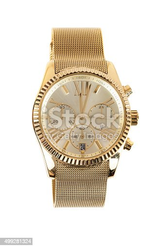istock Womens gold watch on white background 499281324