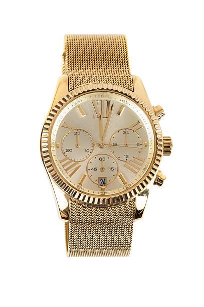 womens gold watch on white background - wijzerplaat stockfoto's en -beelden